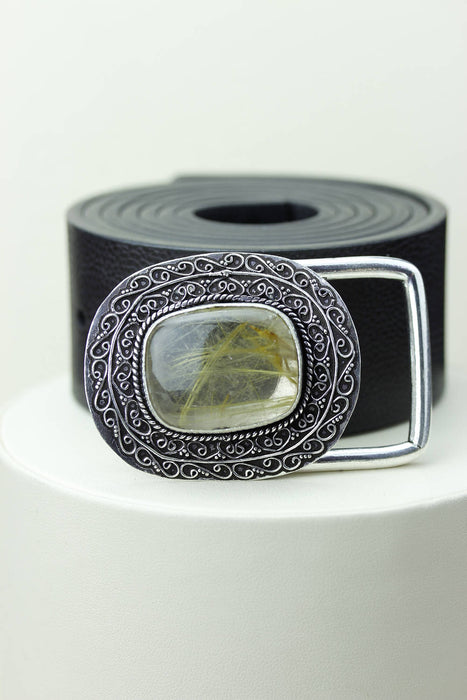 Rutile Rutilated Quartz Belt Buckle T77