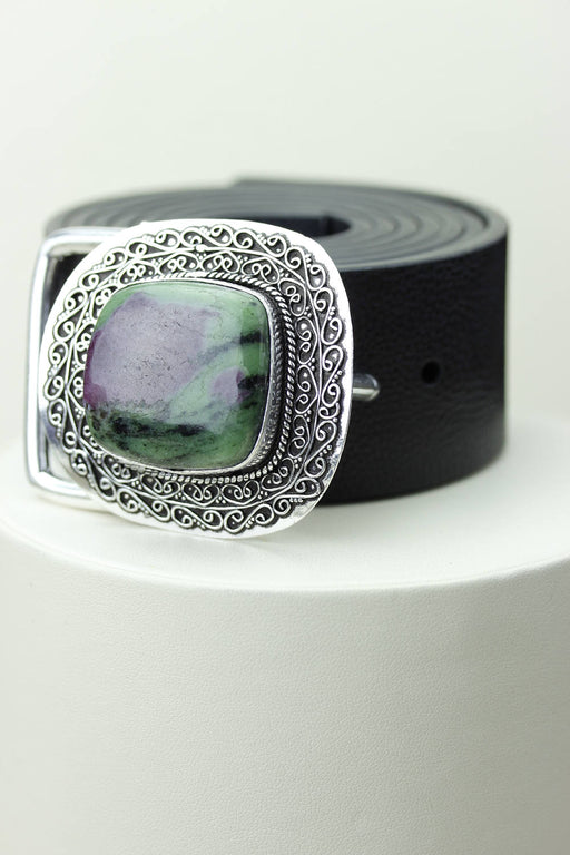 Defintely Unique! Ruby-zoisite Vintage Filigree Antique 925 Fine S0LID Sterling Silver + Copper BELT Buckle T99