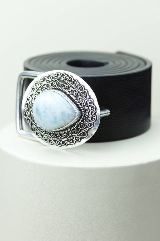 Caribbean LARIMAR Vintage Filigree Antique 925 Fine S0LID Sterling Silver + Copper BELT Buckle T130