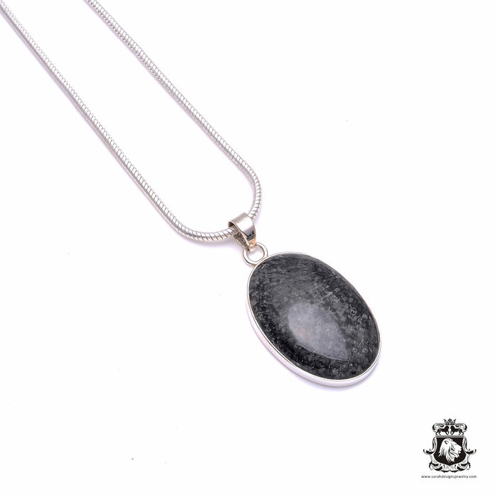 Fossilized Stingray Coral Fine 925 Sterling Silver Pendant 4mm Snake Chain P6179