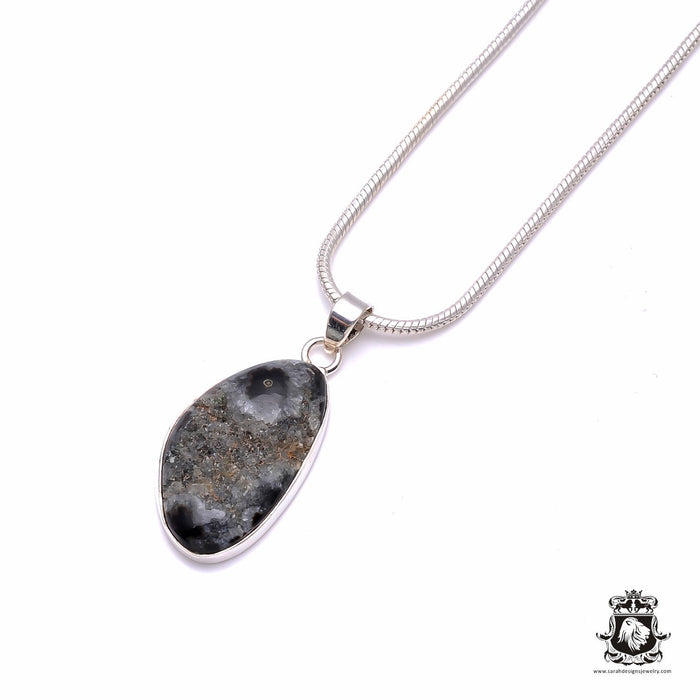 Fossilized Agate Druzy 925 Sterling Silver Pendant 4mm Snake Chain P6191
