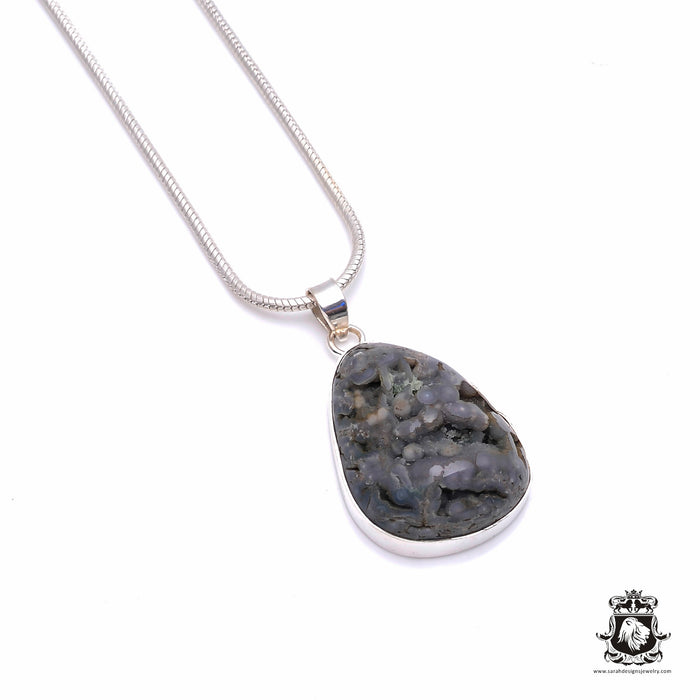 Grape Agate Fine Sterling Silver Pendant 4mm Snake Chain P6325