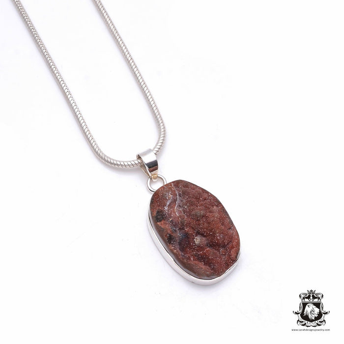 Thulite Druzy Sterling Silver Pendant 4mm Snake Chain P6337
