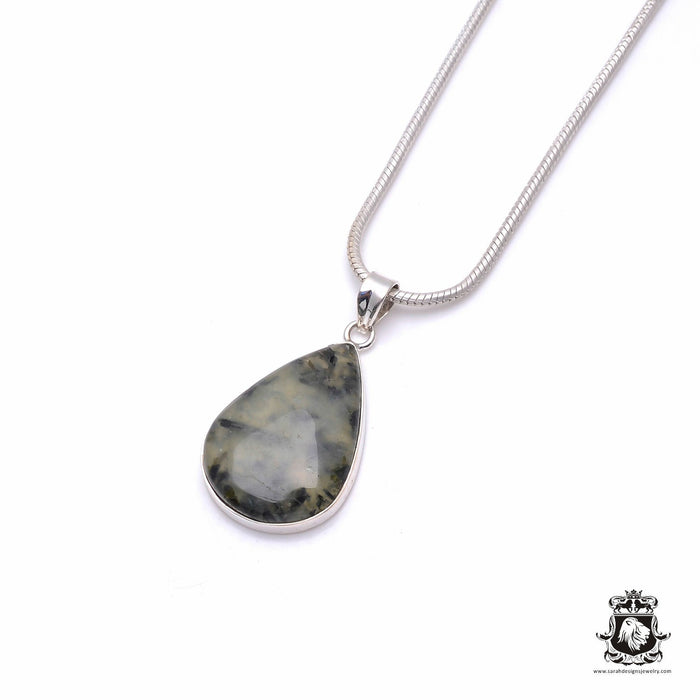 Moss Agate Pendant 4mm Snake Chain P6339