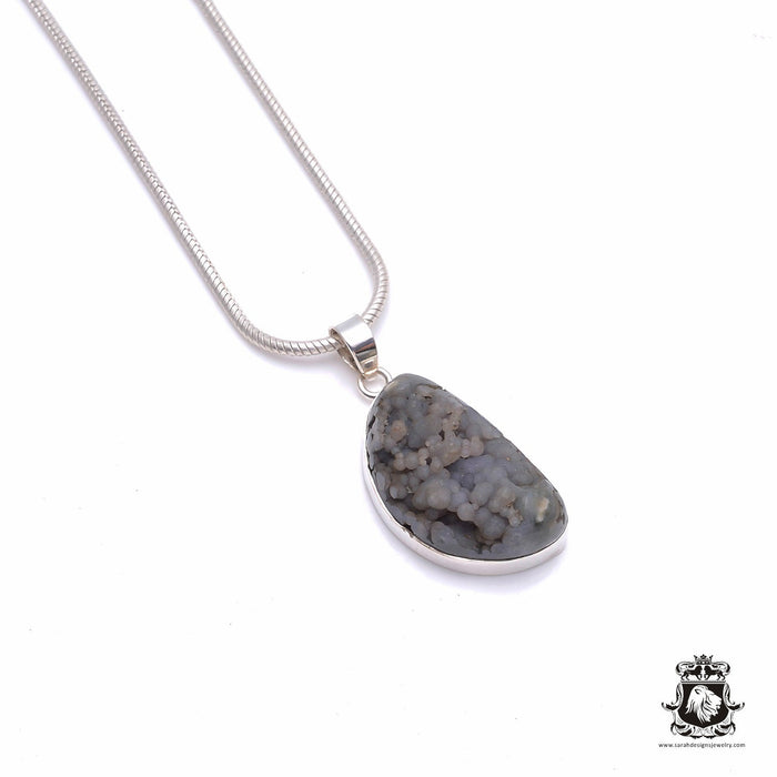Grape Agate Fine Sterling Silver Pendant 4mm Snake Chain P6349