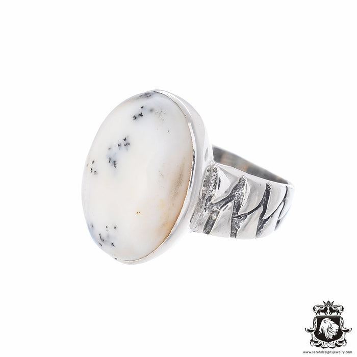 Size 8 Dendritic Agate Sterling Silver Ring r2589