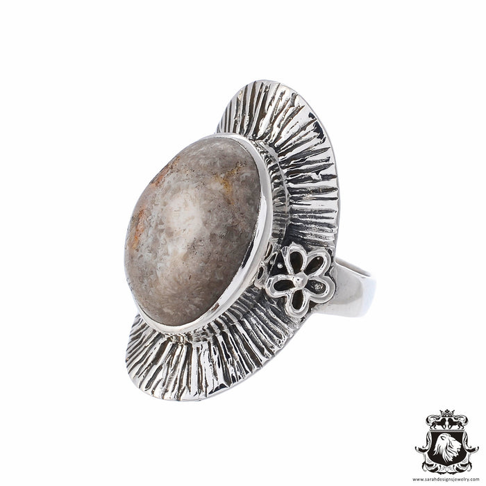 Size 8 Fossilized Bali Coral Sterling Silver Ring r2564