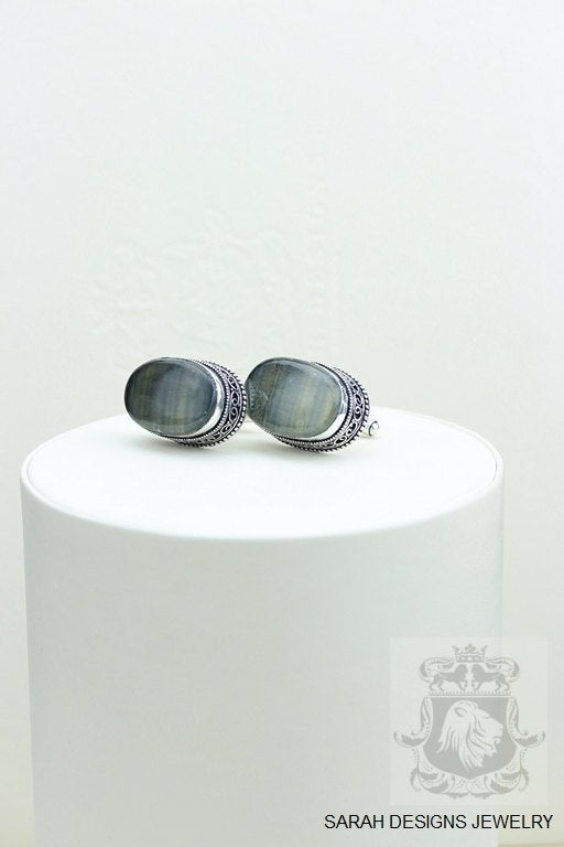 Oval Shaped FLUORITE Vintage Filigree Antique 925 Fine S0LID Sterling Silver Men's / Unisex CUFFLINKS K214