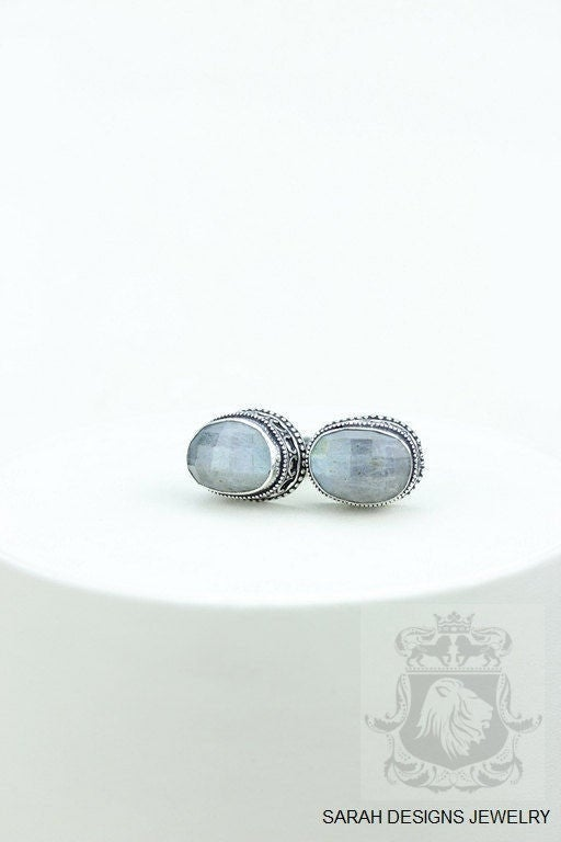 FACETED Canada Mined Labradorite Vintage Filigree Antique 925 Fine S0LID Sterling Silver Men's / Unisex CUFFLINKS k606