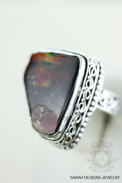 Size 7 Ammolite Sterling Silver Ring r1614