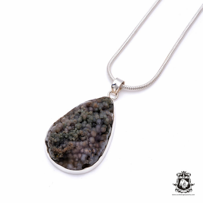 Grape Agate Fine Sterling Silver Pendant 4mm Snake Chain P6276