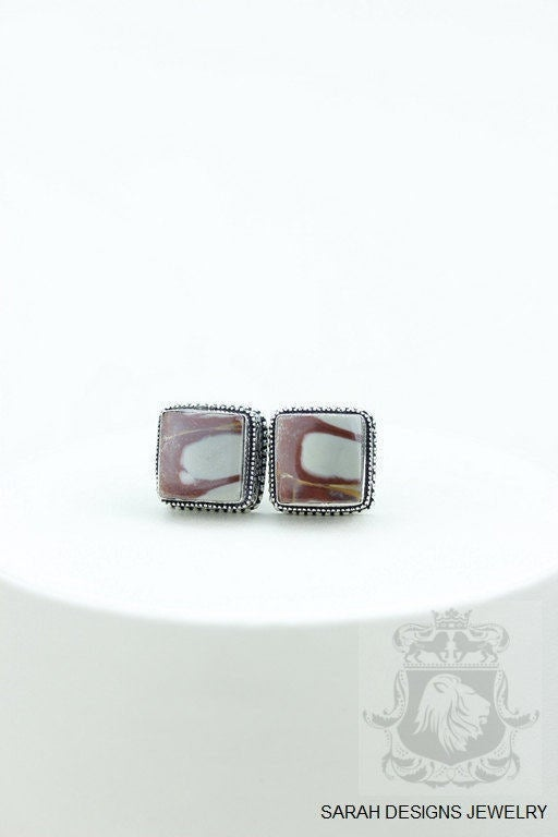 Square Cut Australian MOOKAITE Jasper Vintage Filigree Antique 925 Fine S0LID Sterling Silver Men's / Unisex CUFFLINKS K644