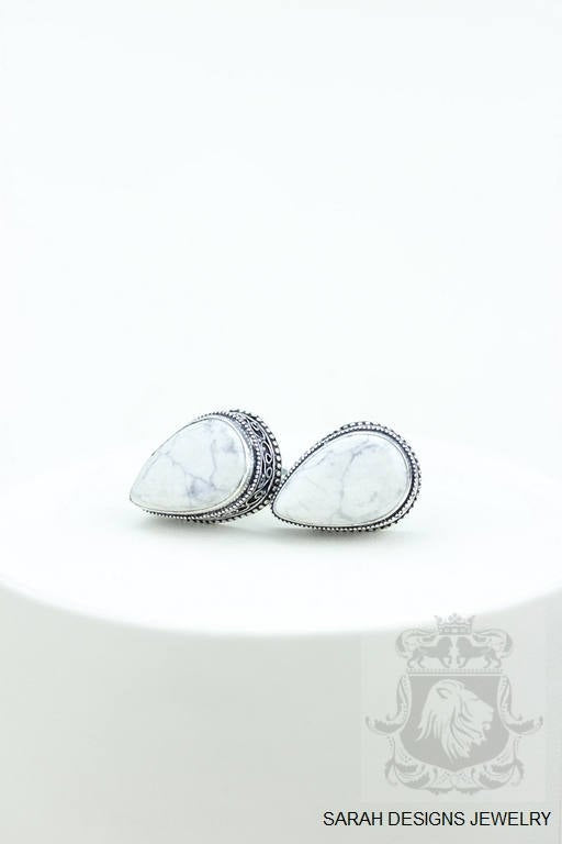 White Buffalo Stone HOWLITE Vintage Filigree Antique 925 Fine S0LID Sterling Silver Men's / Unisex CUFFLINKS k712