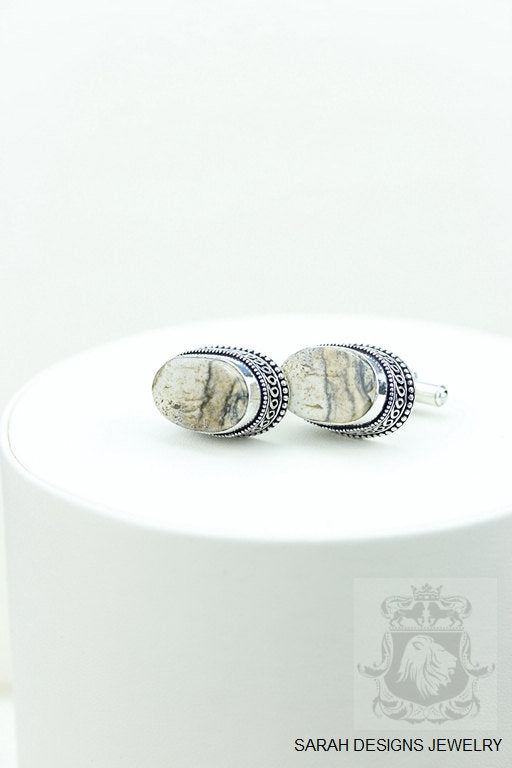 Oval Cut American Picture Jasper Vintage Filigree Antique 925 Fine S0LID Sterling Silver Men's / Unisex CUFFLINKS k216