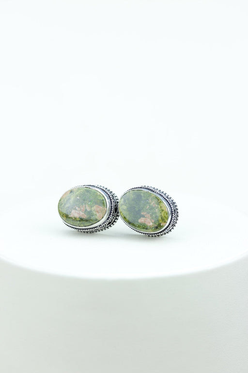 Unakite Vintage Filigree Antique 925 Fine S0LID Sterling Silver Men's / Unisex CUFFLINKS k526