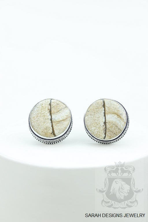 Round Shaped American Picture Jasper Vintage Filigree Antique 925 Fine S0LID Sterling Silver Men's / Unisex CUFFLINKS k739