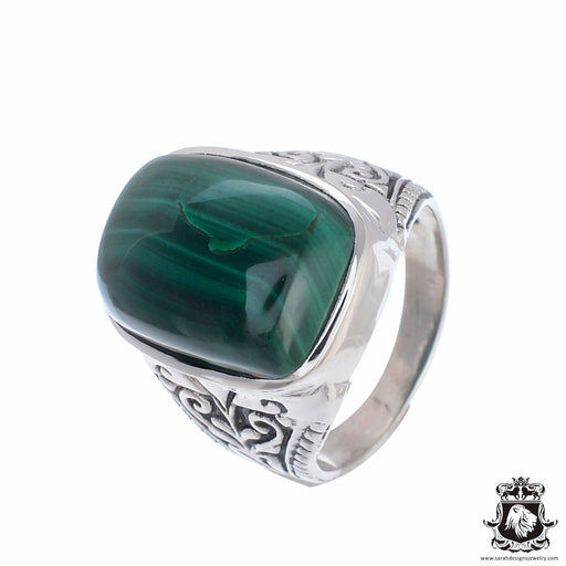 SIZE 8 Malachite Filigree setting (Nickel Free) Sterling Silver Vintage Setting Ring r2544