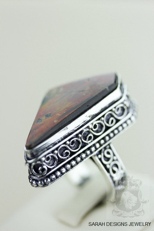 Size 8  Ammolite Sterling Silver Ring r1641