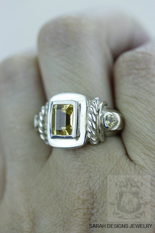 SIZE 6.5 CITRINE (Nickel Free) 925 Fine S0LID Sterling Silver Ring & Worldwide Express Shipping r915