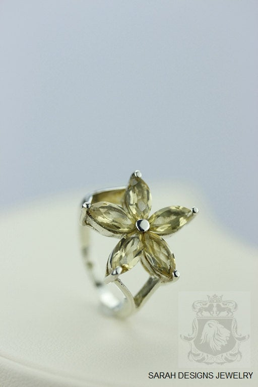 Size 6 FLOWER SHAPE 16 Carat CITRINE (Nickel Free) 925 Sterling Silver Ring & Worldwide Express Shipping r329