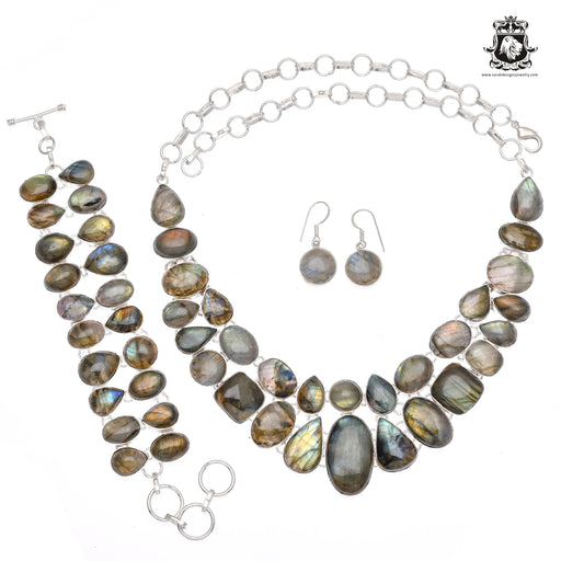 Labradorite Bracelet Necklace Set 625