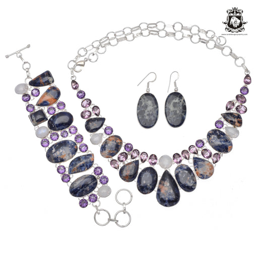 Canadian SODALITE Moonstone Amethyst 925 Sterling Silver + Copper Bonded Necklace Bracelet & Earrings ALL Included SET606