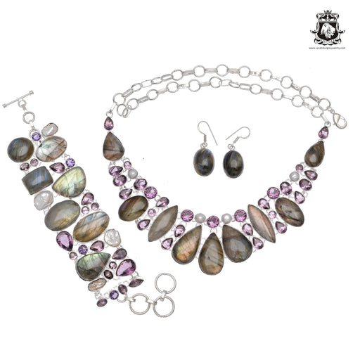 Canadian Blue Fire LABRADORITE Amethyst 925 Sterling Silver + Copper Bonded Necklace Bracelet & Earrings ALL Included SET611