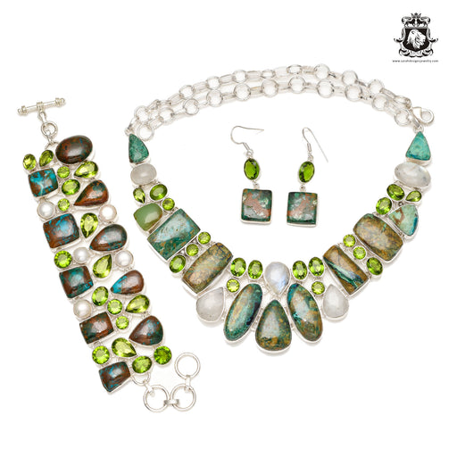 Mix of Azurite Malachite Chrysocolla SHATTUCKITE 925 Sterling Silver + Copper Bonded Necklace Bracelet & Earrings ALL Included SET659