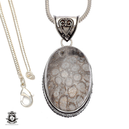 Fossilized Bali Coral Pendant 4mm Snake Chain V746