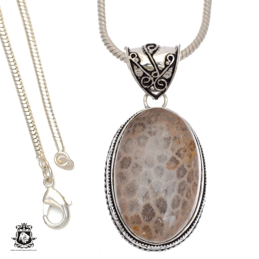Fossilized Bali Coral Pendant 4mm Snake Chain V744