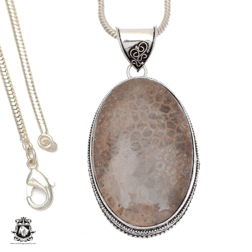 Fossilized Bali Coral Pendant 4mm Snake Chain V736