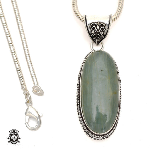 Brazilian Aquamarine Pendant 4mm Snake Chain V828