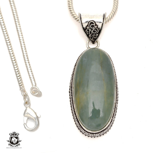 Brazilian Aquamarine Pendant 4mm Snake Chain V830