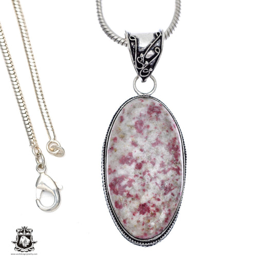 Pink Tourmaline Matrix Quartz Pendant 4mm Snake Chain V405