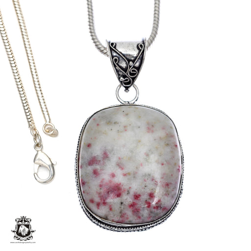 Pink Tourmaline Matrix Quartz Pendant 4mm Snake Chain V406
