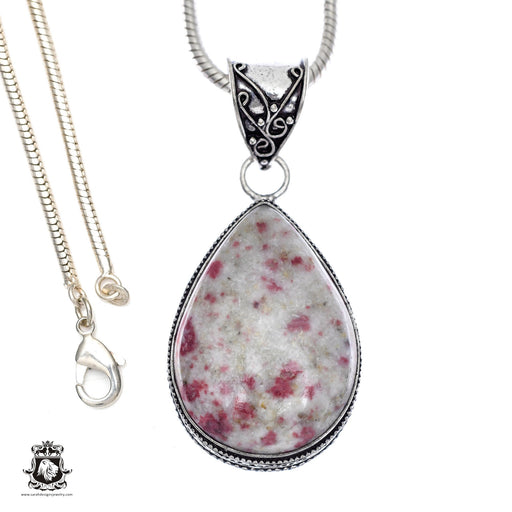 Pink Tourmaline Matrix Quartz Pendant 4mm Snake Chain V407