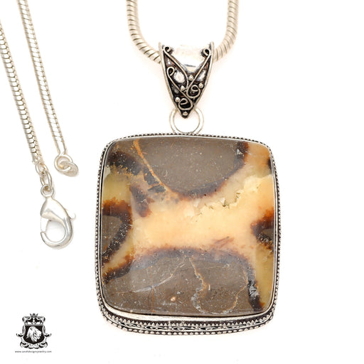 Septarian Dragonstone Pendant 4mm Snake Chain V968