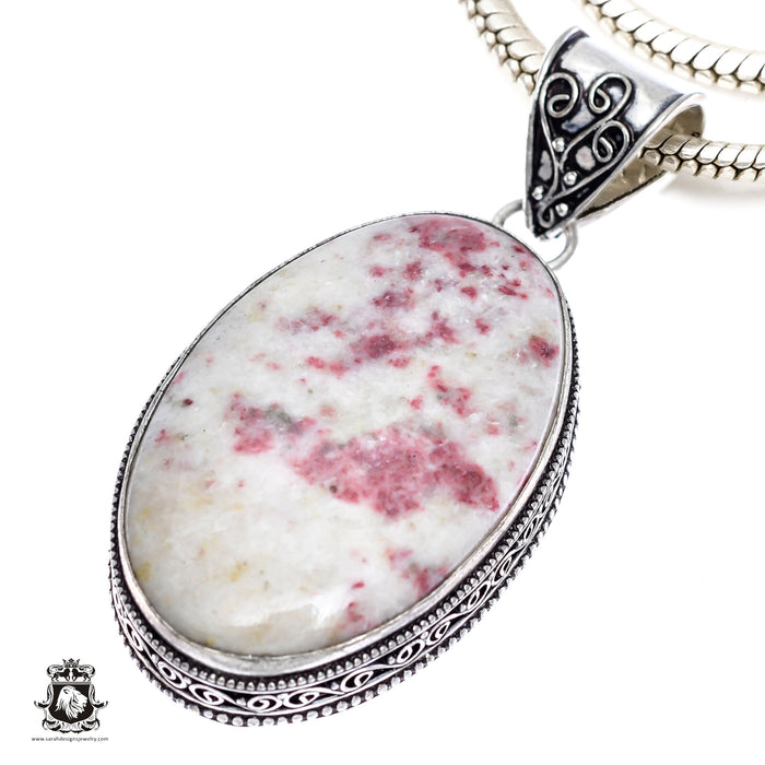 Pink Tourmaline Matrix Quartz Pendant 4mm Snake Chain V410