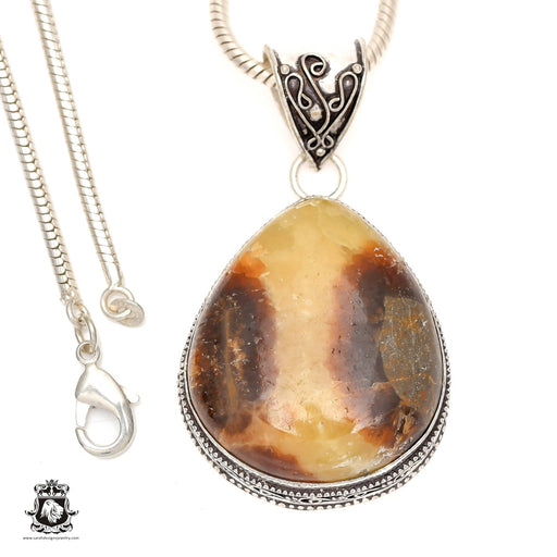 Septarian Dragonstone Pendant 4mm Snake Chain V969