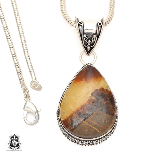 Septarian Dragonstone Pendant 4mm Snake Chain V970