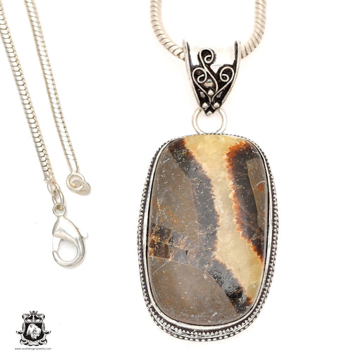 Septarian Dragonstone Pendant 4mm Snake Chain V972