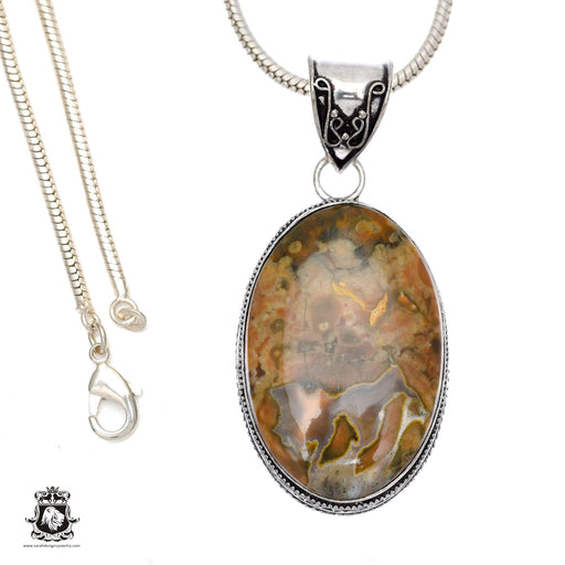 Rhyolite Rainforest Jasper Pendant 4mm Snake Chain V498