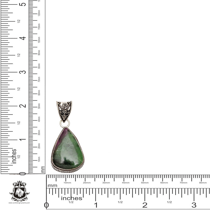 Ruby Zoisite Anyolite Pendant 4mm Snake Chain V1070