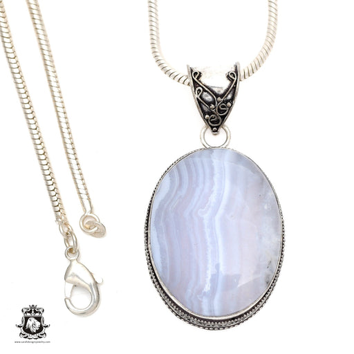 Blue Lace Agate Pendant 4mm Snake Chain V542