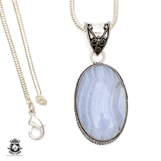 Blue Lace Agate Pendant 4mm Snake Chain V547