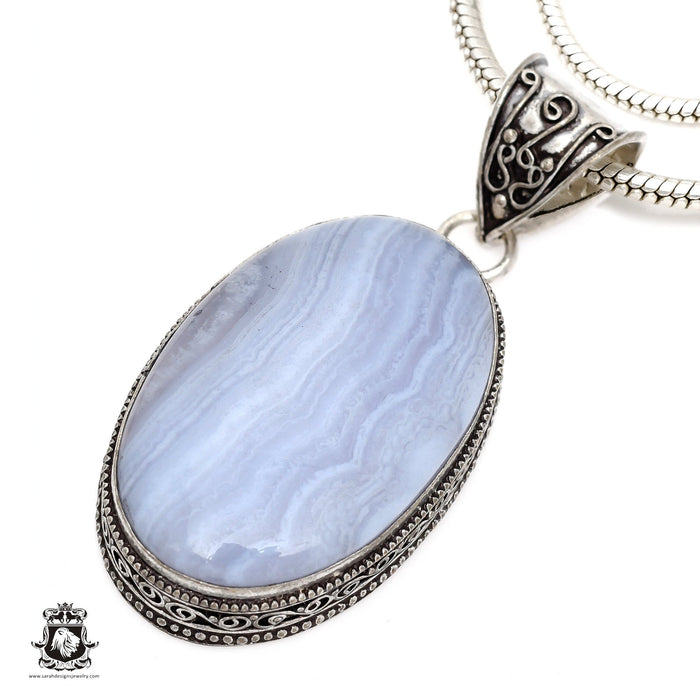 Blue Lace Agate Pendant 4mm Snake Chain V555