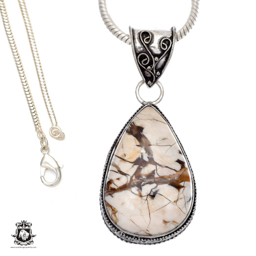 Petrified Peanut Wood Pendant 4mm Snake Chain V572
