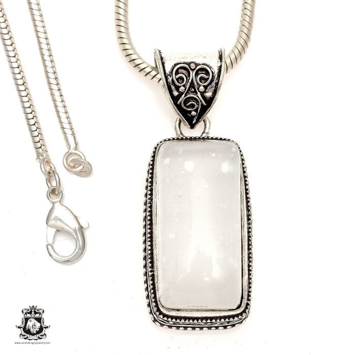 Selenite Palm Stone Pendant 4mm Snake Chain V1242