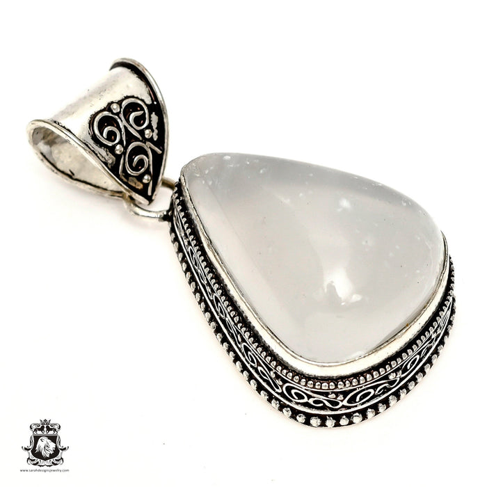 Selenite Palm Stone Pendant 4mm Snake Chain V1252