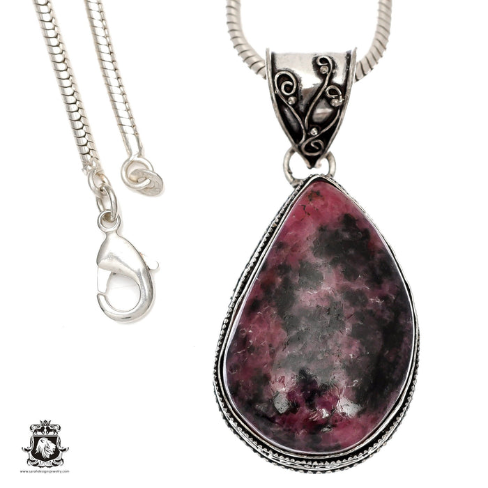 Rhodonite Pendant 4mm Snake Chain V1456